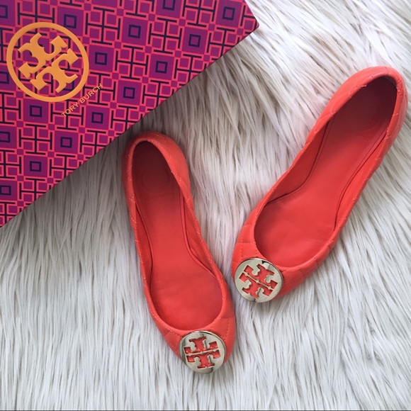 604c9b955 Tory Burch Shoes | Poppy Red Gold Quinn Ballet Flats | Poshmark